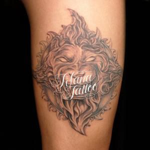 ライオン|太陽のタトゥー