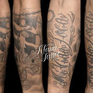 ロザリオ|薔薇|文字のタトゥー