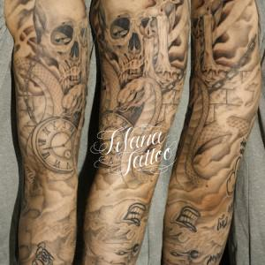 スカル|ヘビ|時計|ロウソクのタトゥー