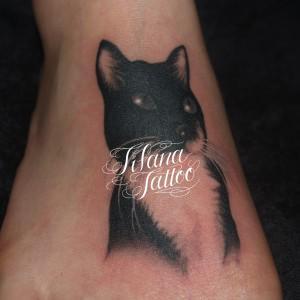 猫のポートレイトタトゥー