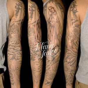 マリア|キリスト|天使|バラ|鳥のタトゥー