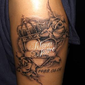 ハート|王冠|薔薇のタトゥー