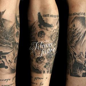 スカル|カラス|文字のタトゥー
