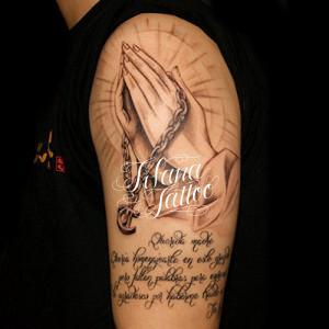 合掌|ロザリオ|文字のタトゥー