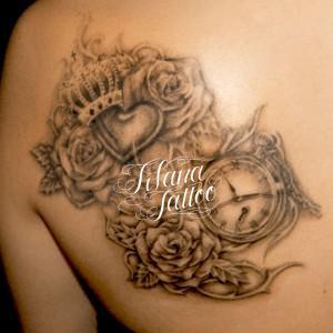時計|王冠|薔薇|ハートのタトゥー