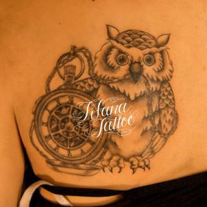 梟と懐中時計のタトゥー