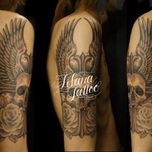 翼|スカル|クロス|薔薇のタトゥー