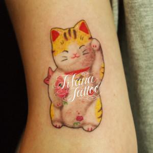 招き猫の刺青作品
