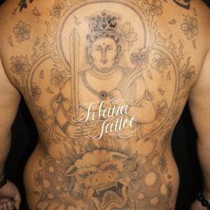 文殊菩薩|唐獅子の刺青作品