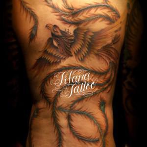 火の鳥の刺青作品