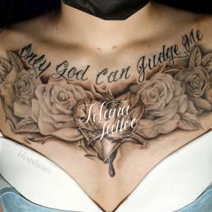 バラ|ハート|文字のタトゥー