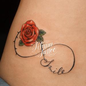 無限大|バラ|文字のタトゥー