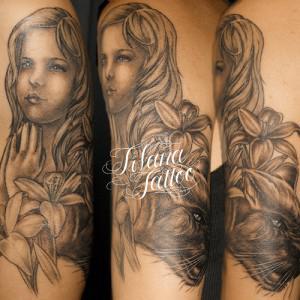 天使|百合|猫のタトゥー