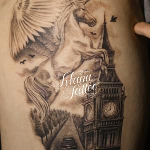 ユニコーンと塔のタトゥー