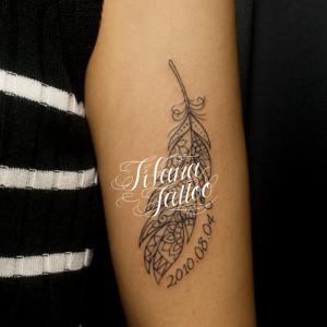 フェザーのラインアート・タトゥー