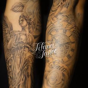 女神|懐中時計|薔薇のタトゥー