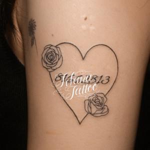 ハート|薔薇|数字のタトゥー