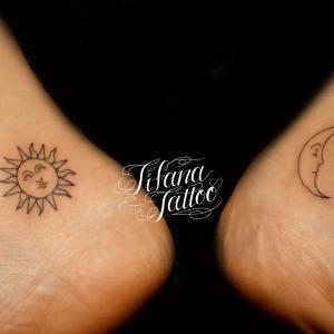太陽|月のワンポイントタトゥー
