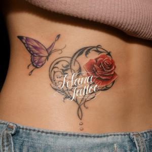 薔薇|ハート|蝶のタトゥー