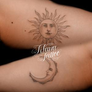 太陽と月のペア・タトゥー