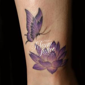 紫色の蝶|蓮のタトゥー